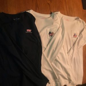 Lot 3 Vineyard Vines long sleeve T-Shirts.